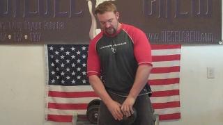 Grip Training enthusiast Jedd Diesel, setting a hand gripper